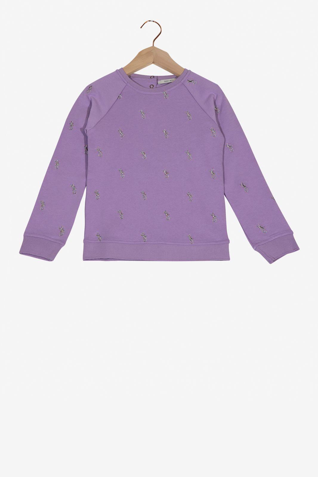 Lichtpaarse sweater gekko