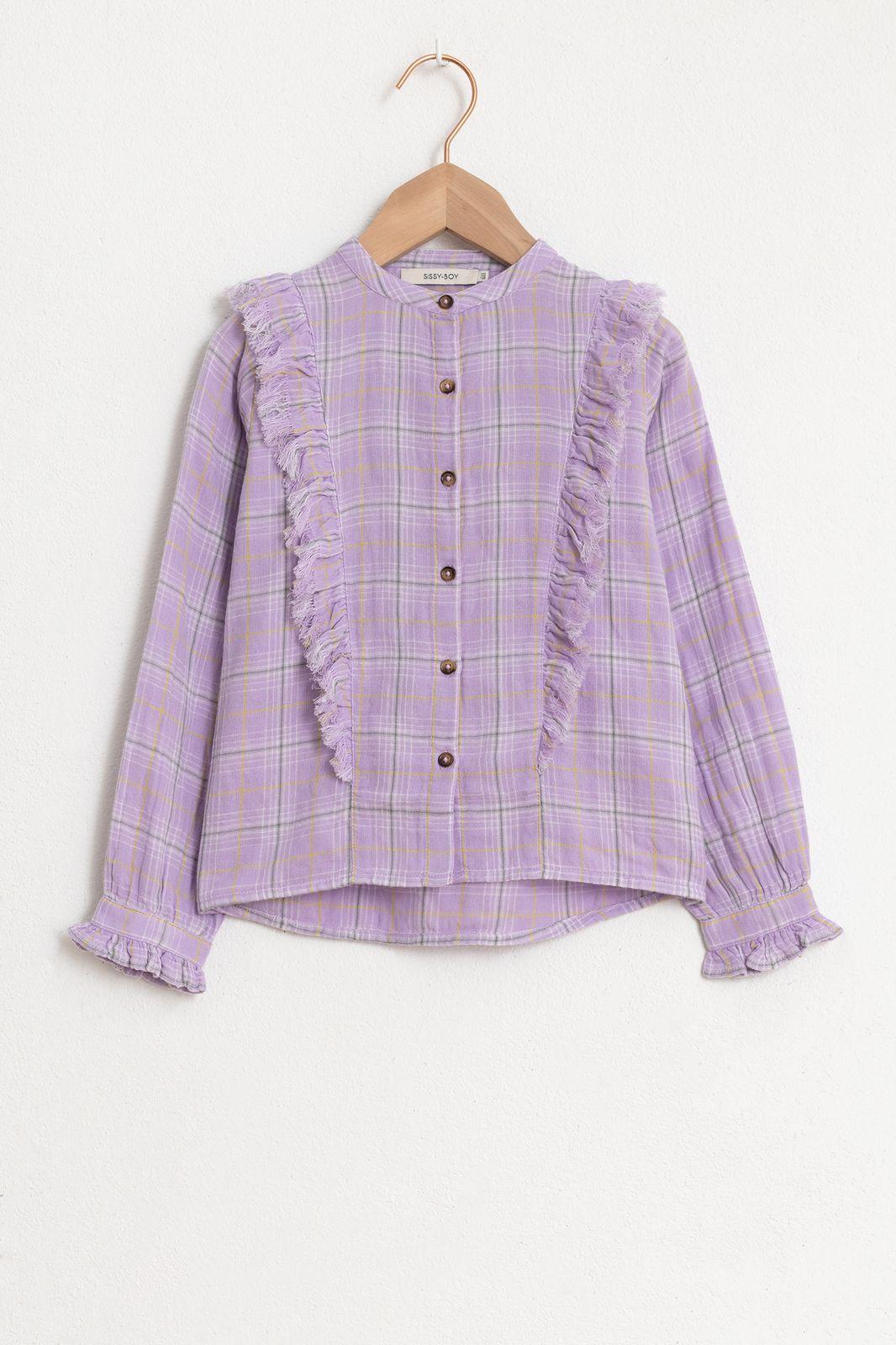 Lichtpaarse blouse met ruitjes en ruffles - Kids | Sissy-Boy