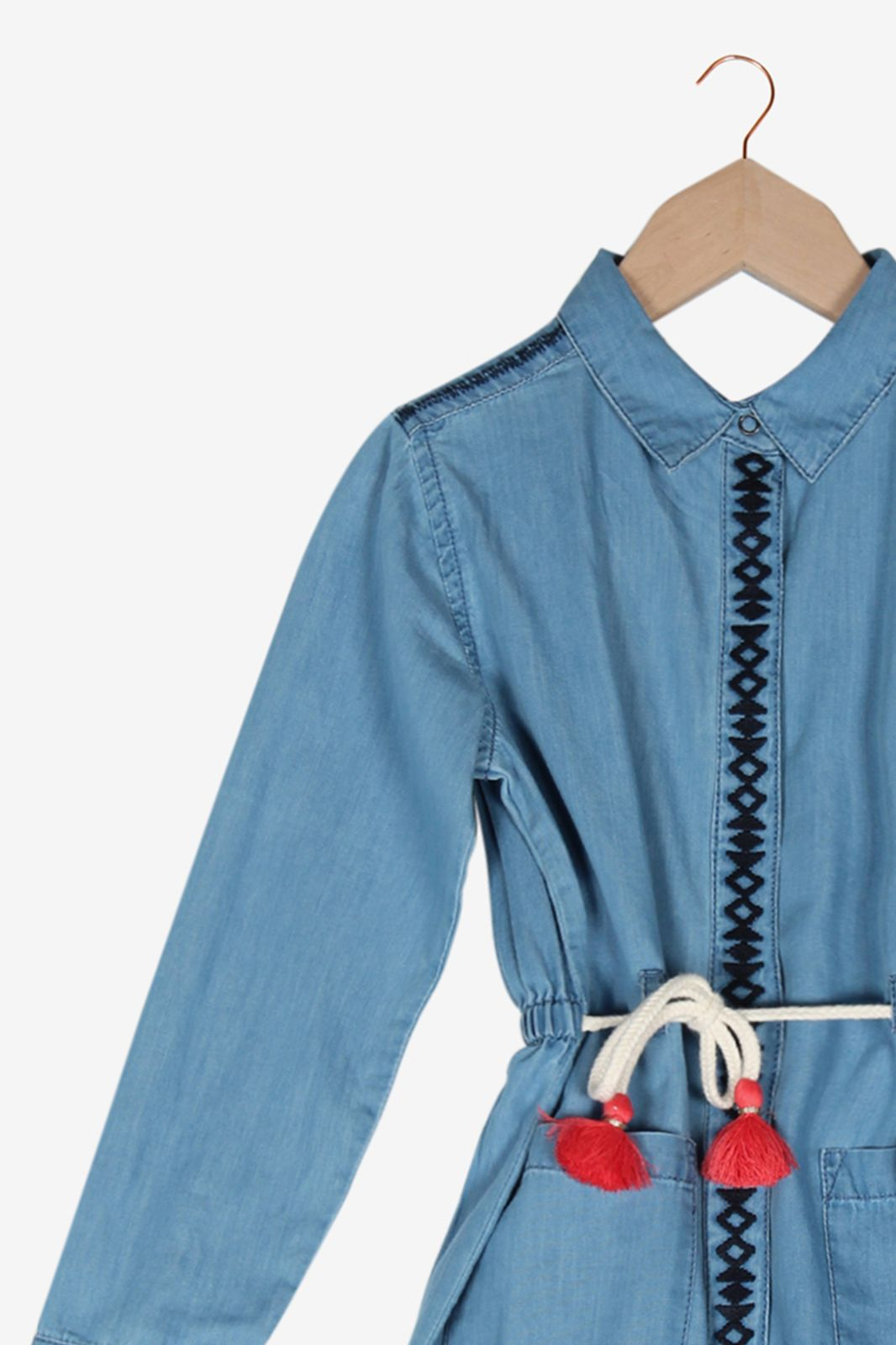 Denim blousejurk met lange mouw en koord - Kids | Sissy-Boy