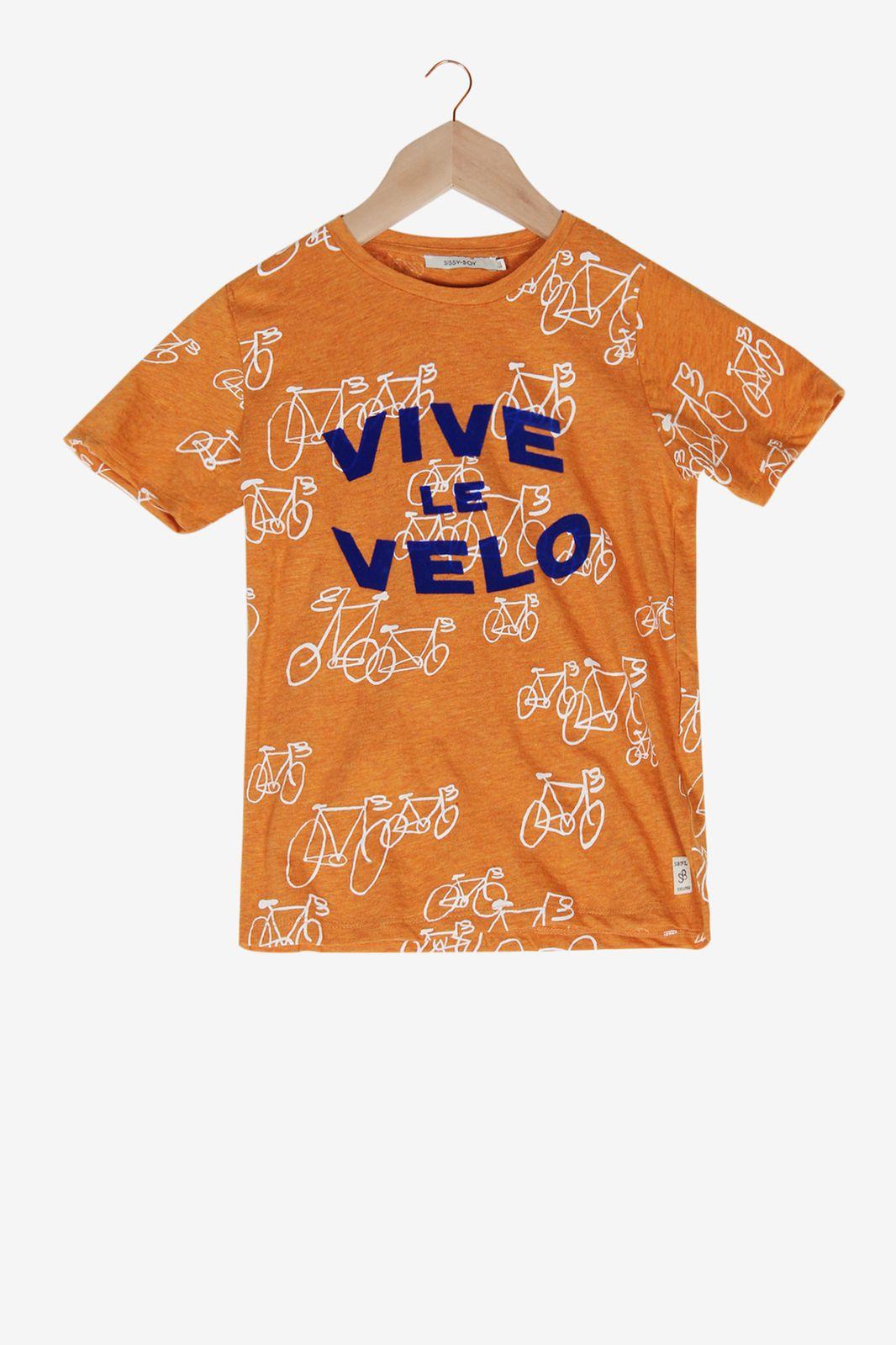 Oranje T-shirt Vive le Velo - Kids | Sissy-Boy