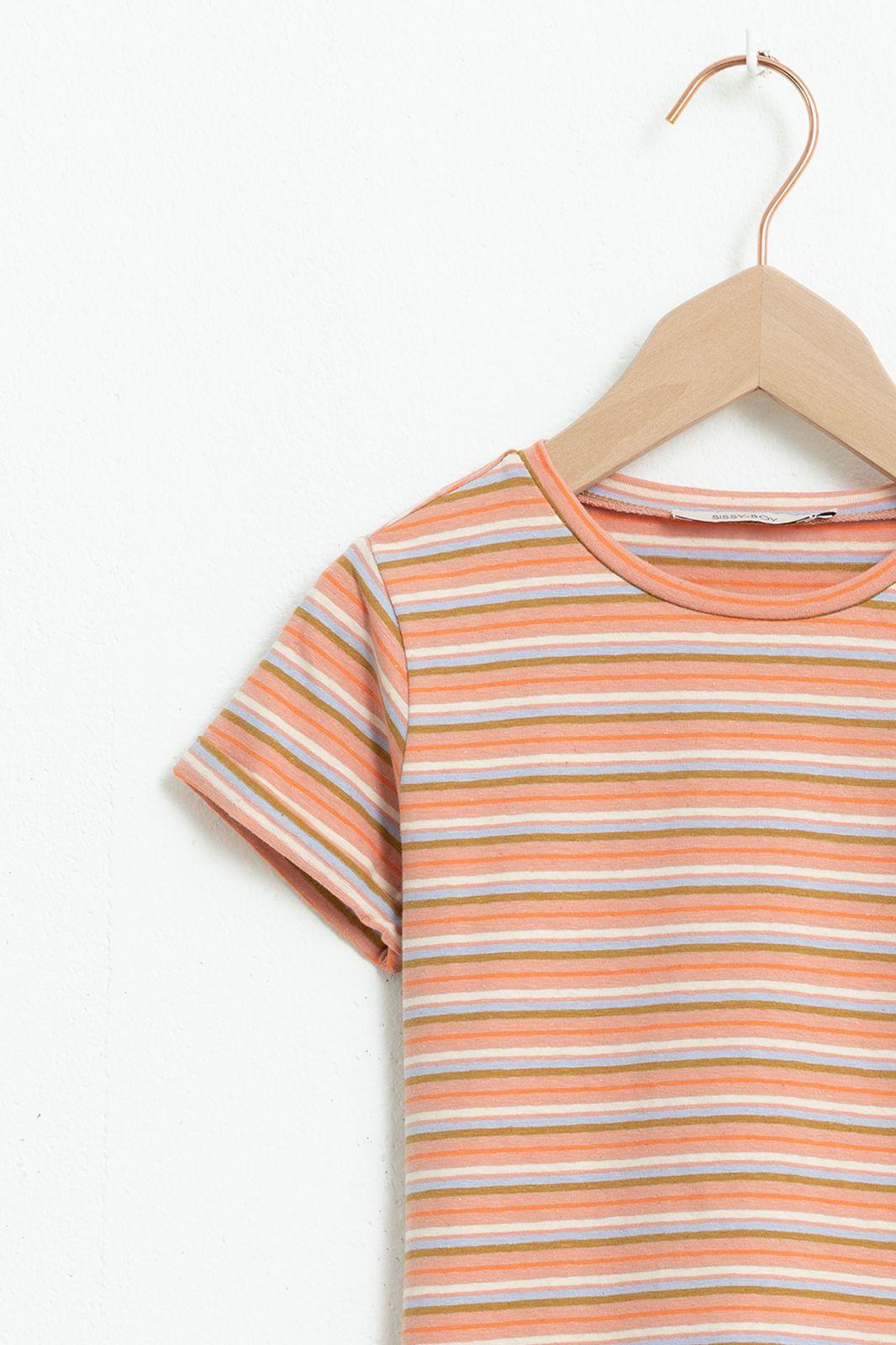Multicolor gestreept T-shirt met korte mouw