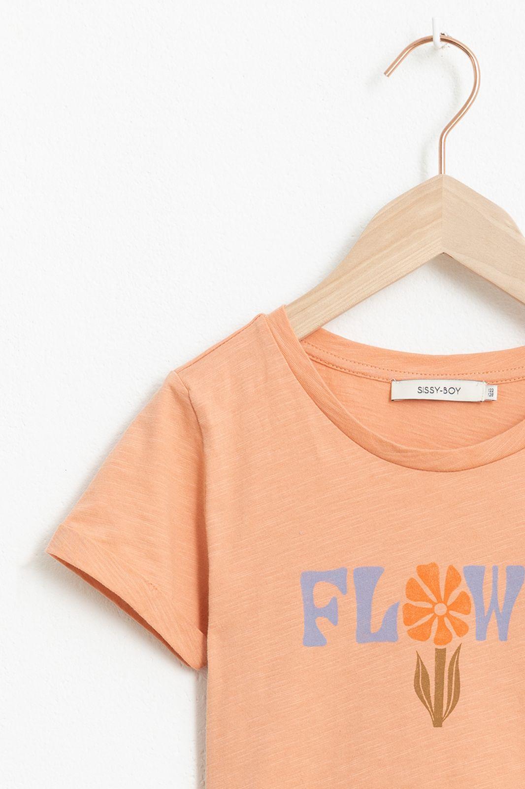 Oranje T-shirt flower met korte mouw