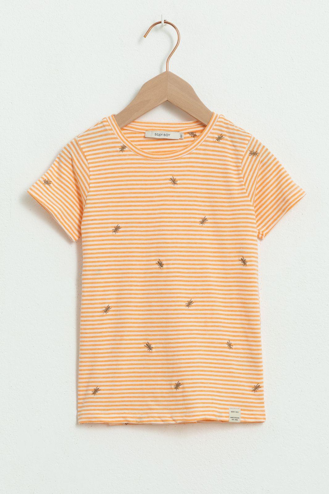 Oranje gestreept T-shirt met korte mouw en mieren borduursels