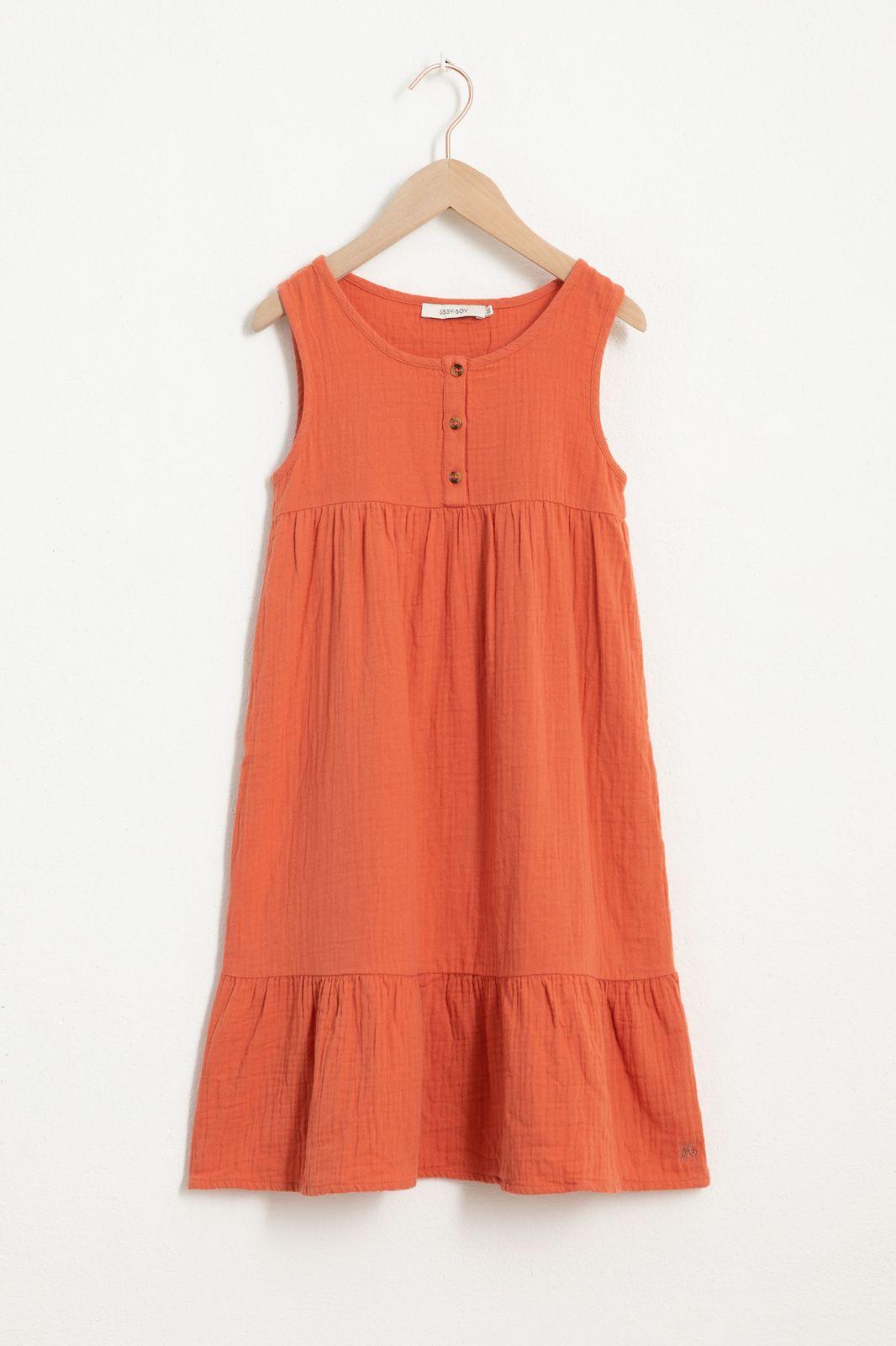 Oranje maxi jurk met stroken - Kids | Sissy-Boy