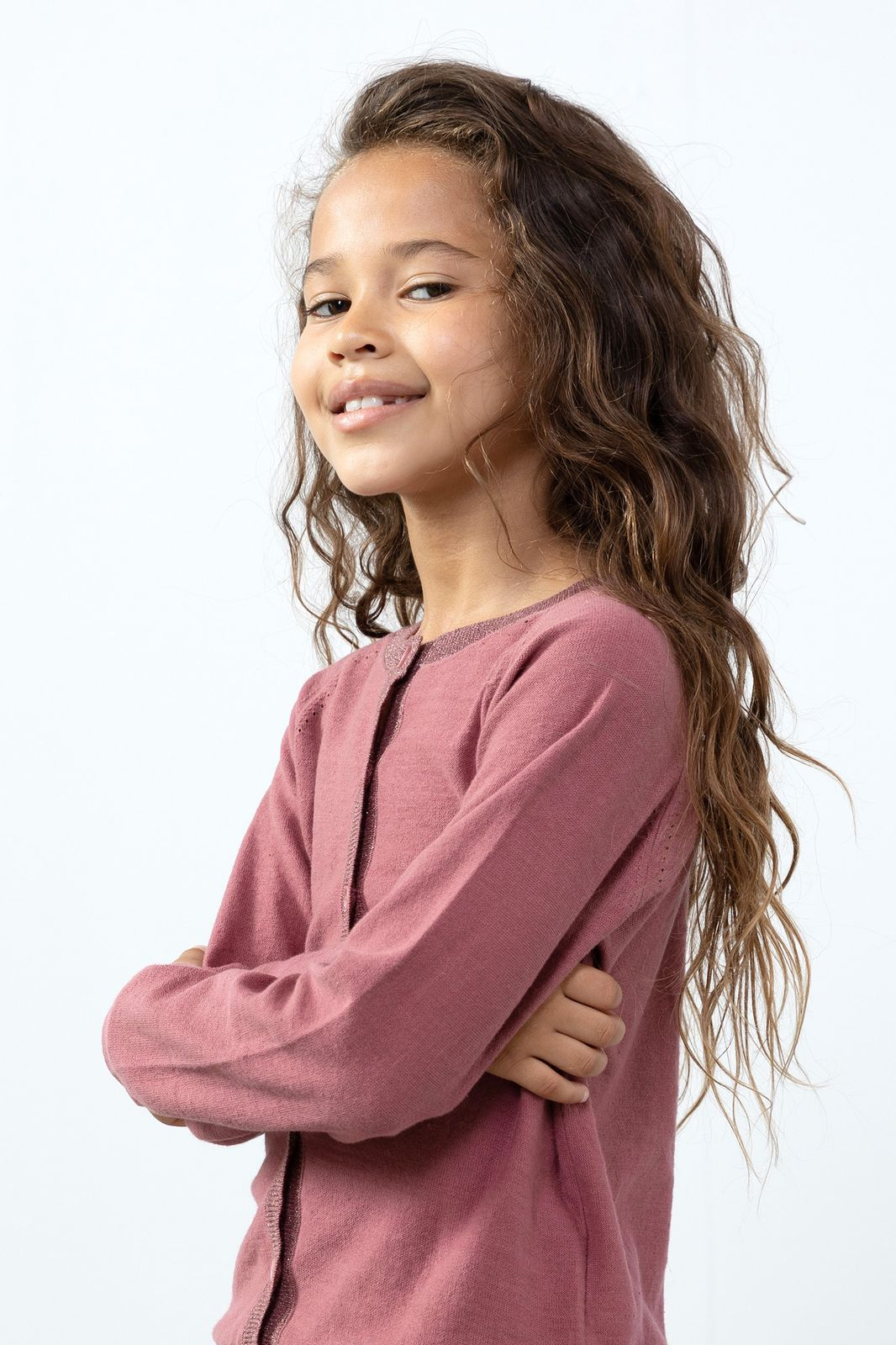 Donkerroze vest met lurex boord - Kids | Sissy-Boy