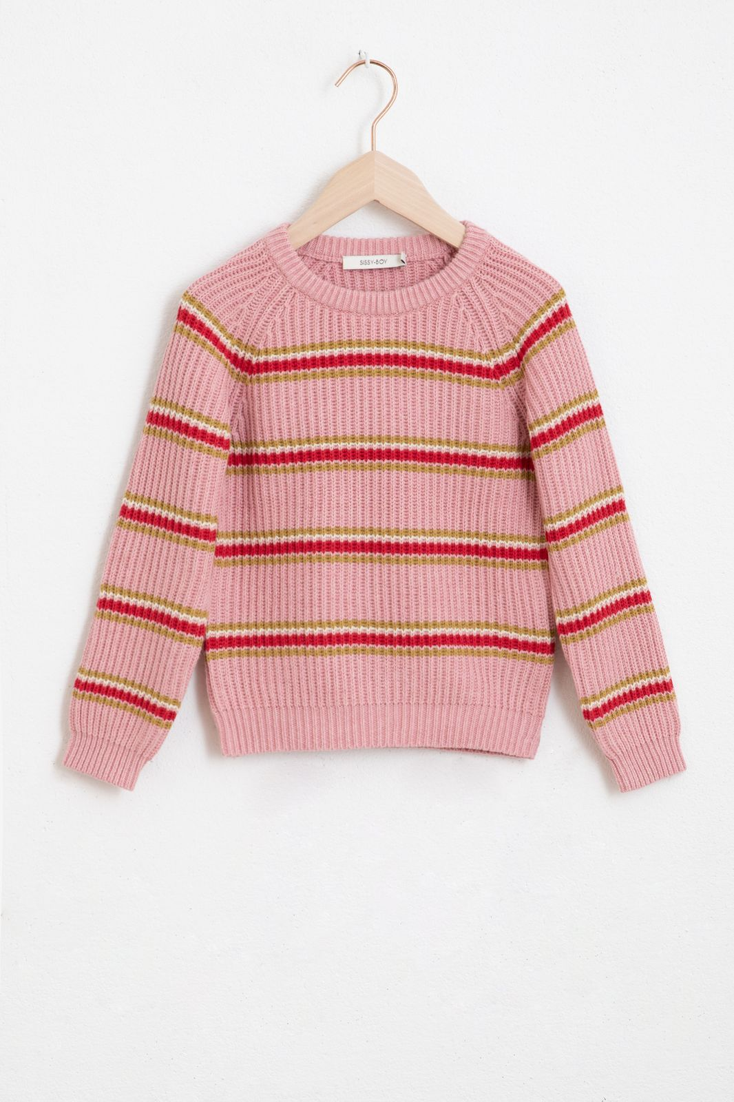 Roze gestreepte trui