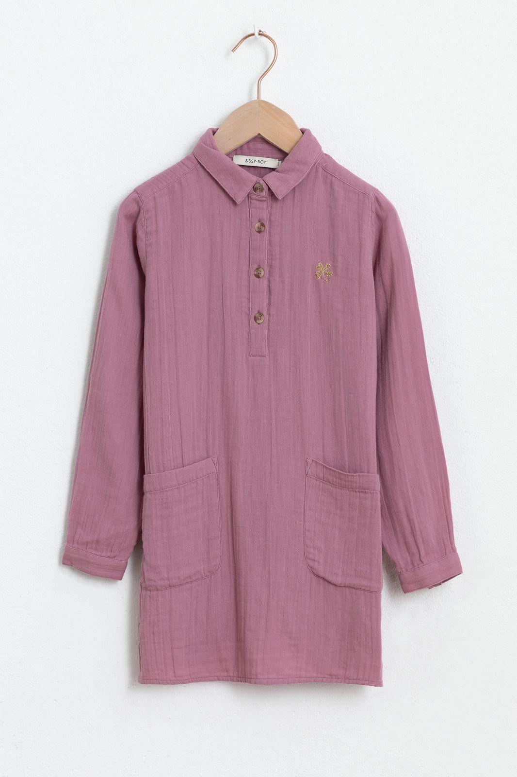 Paarse mousseline jurk met lange mouw en zakjes - Kids | Sissy-Boy