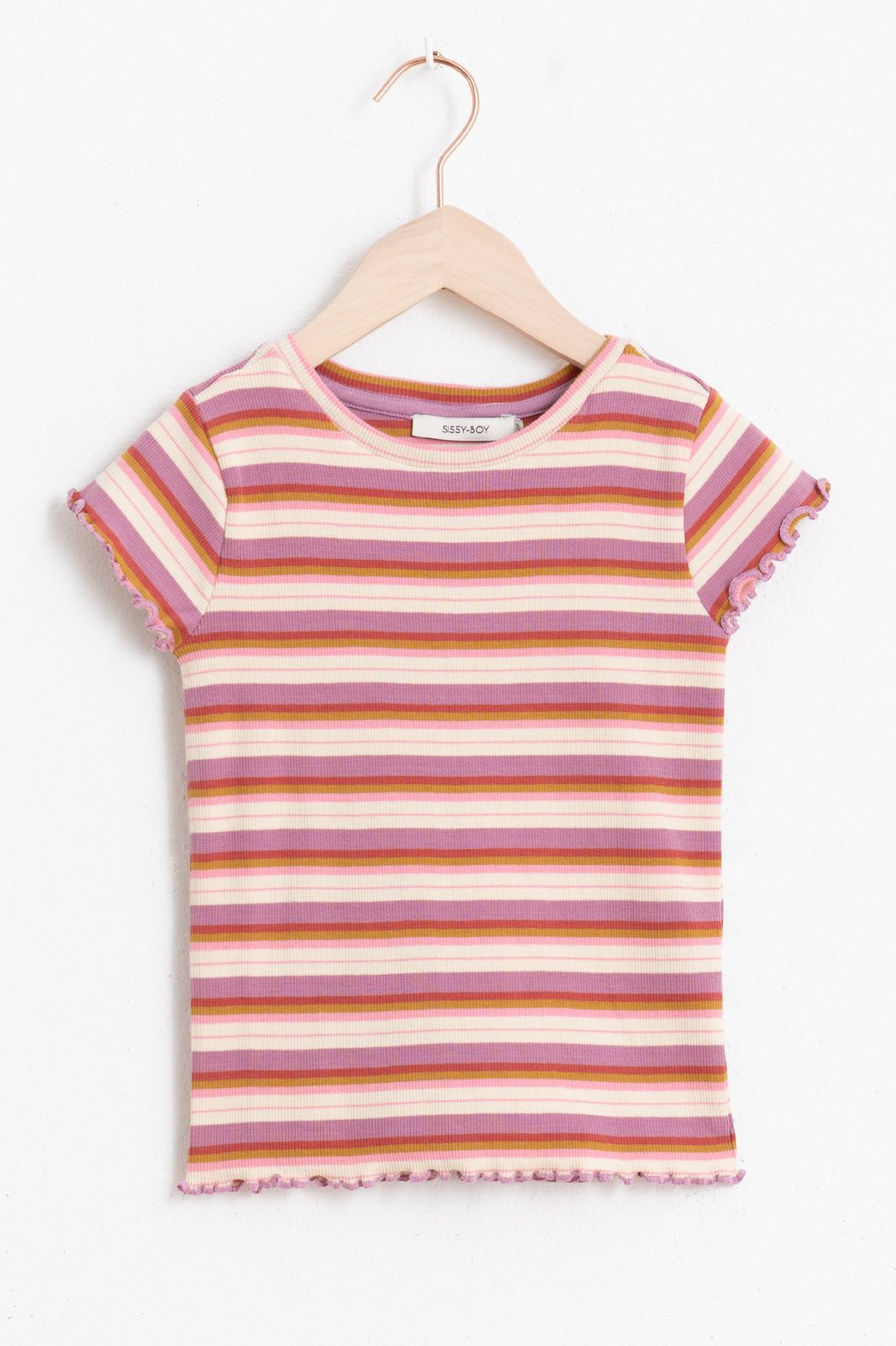 Multicolor gestreept rib T-shirt met korte mouw