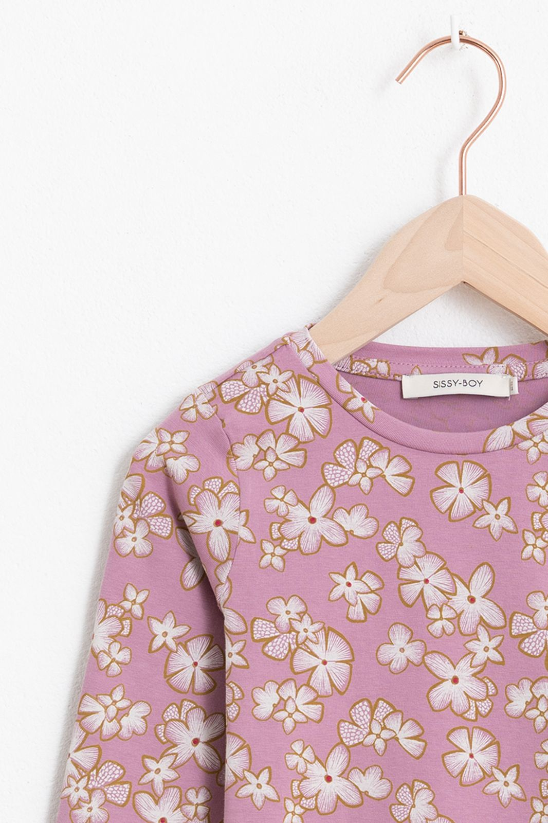 Lila T-shirt met lange mouw en all over bloemenprint - Kids | Sissy-Boy