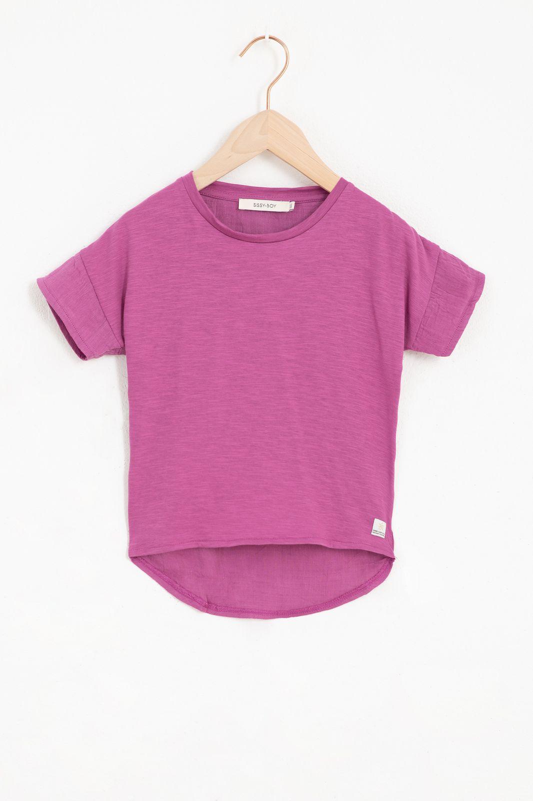 Paars mousseline T-shirt met korte mouw
