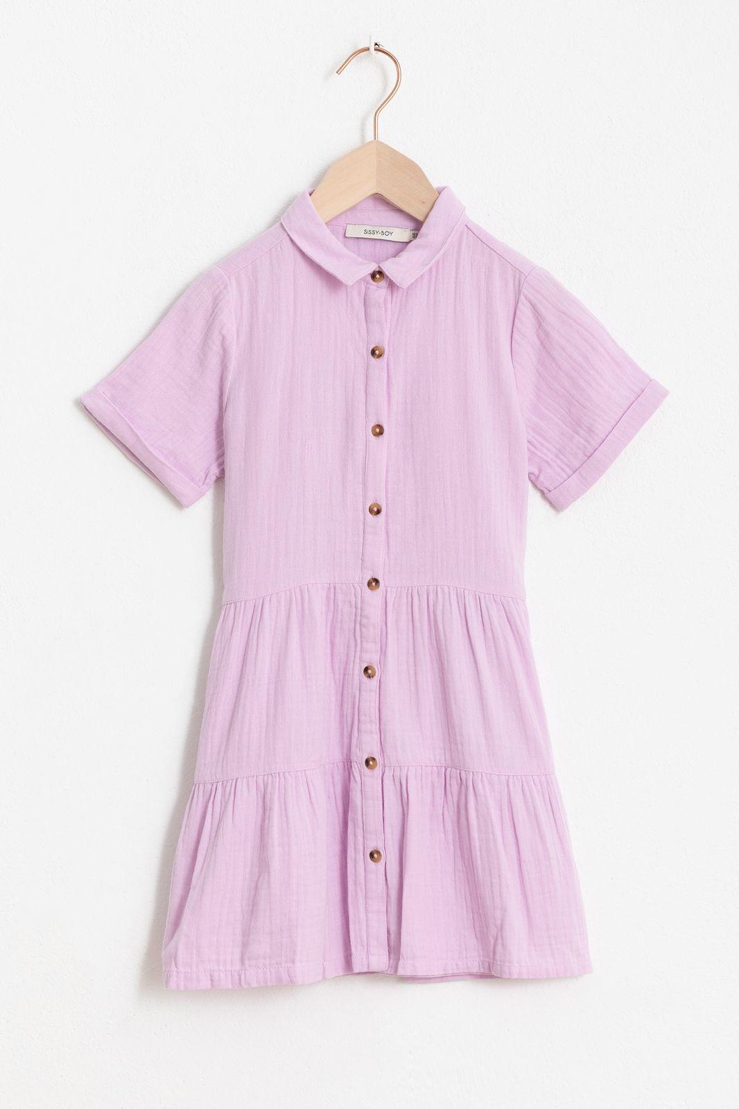 Lila jurkje met korte mouw en ruffle details