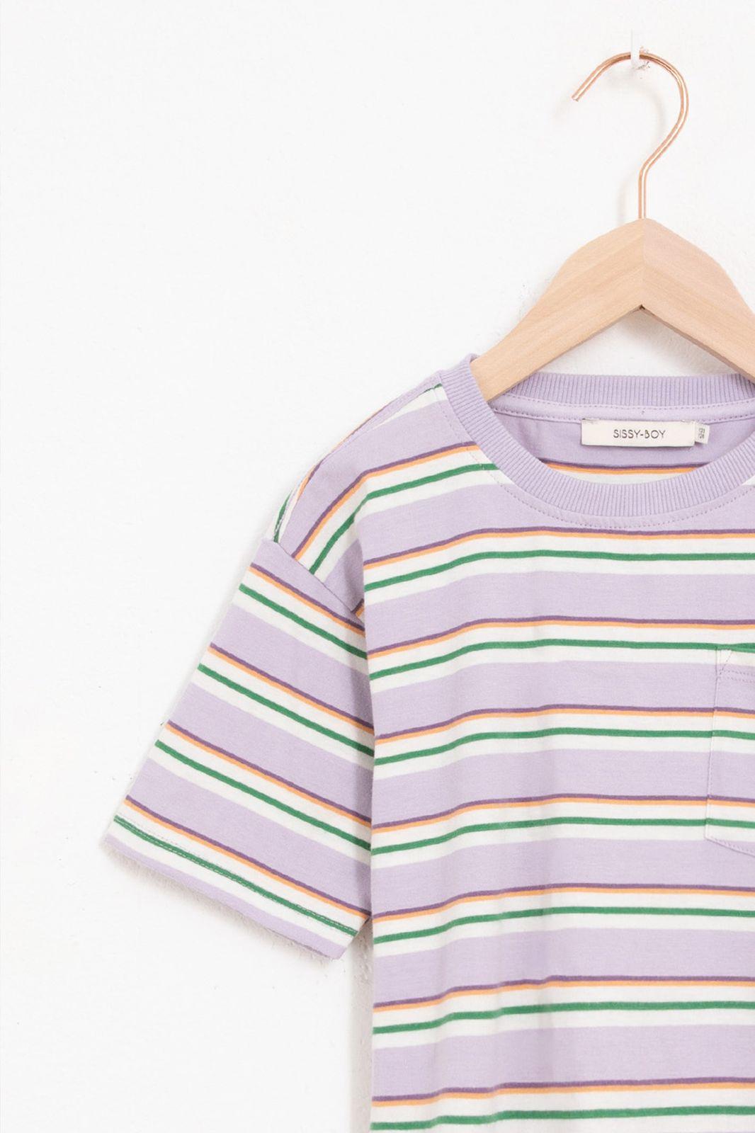 Multicolor gestreept t-shirt met borstzakje