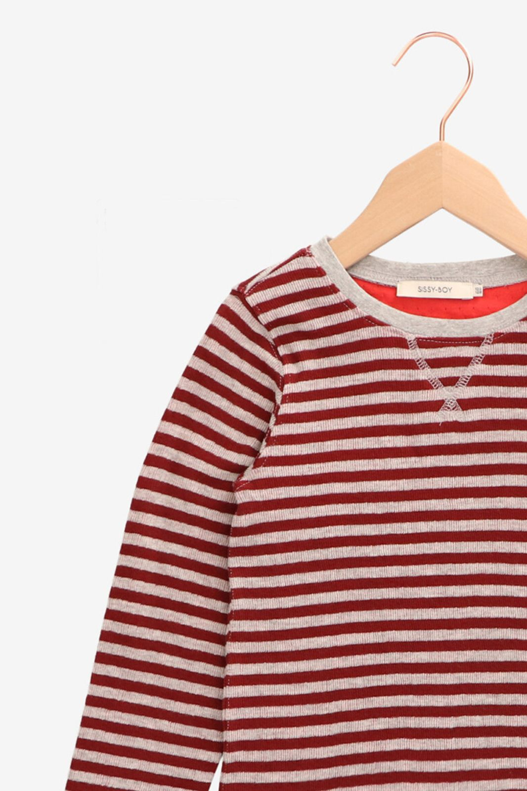 Rood met grijs gestreept t-shirt - Kids | Sissy-Boy