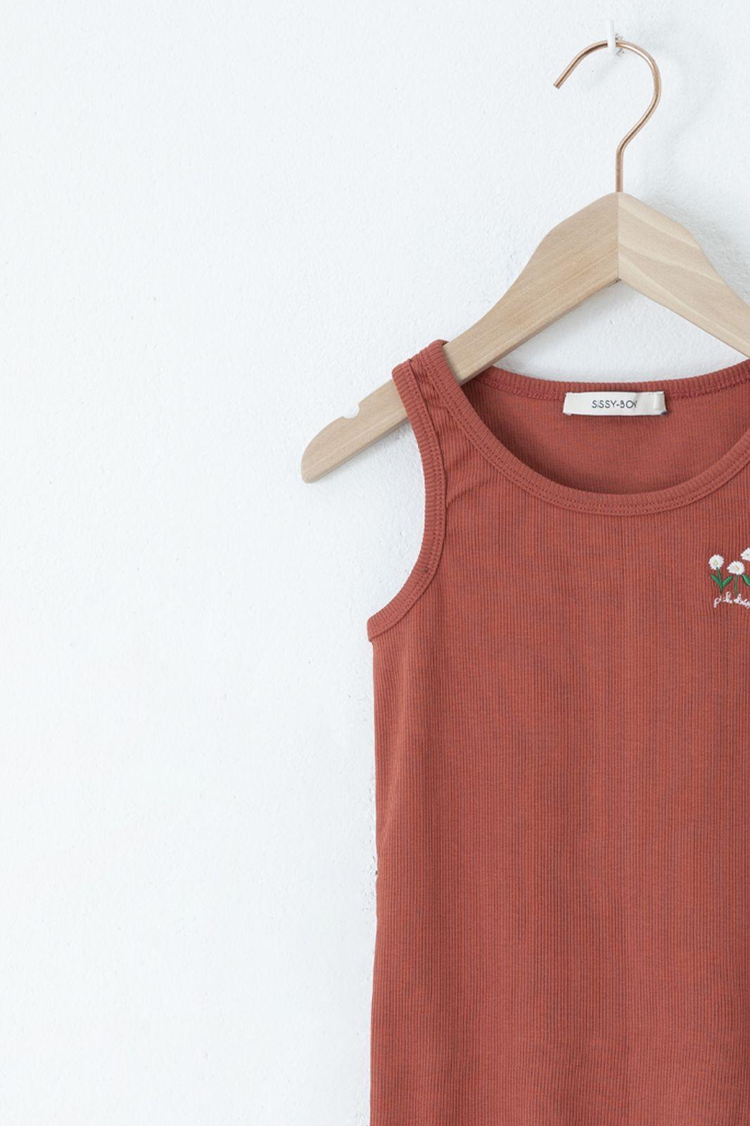 Rode rib singlet met gebloemde embroidery - Kids | Sissy-Boy