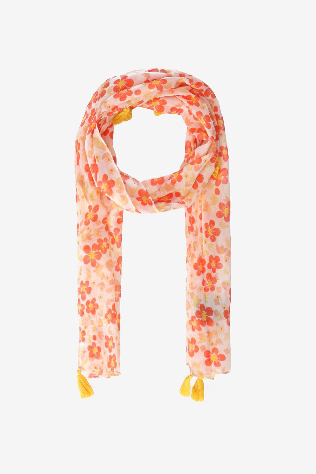 Roze sjaaltje met gele tassle