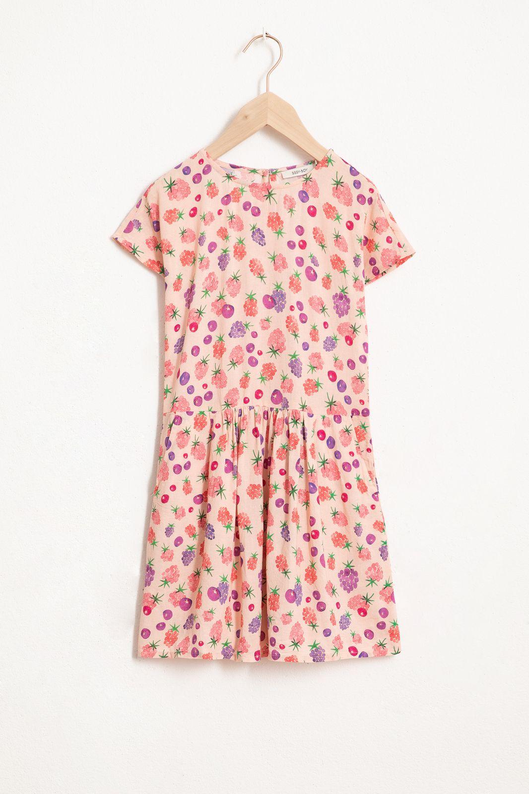 Roze jurk met all over berry print en korte mouw - Kids   Sissy-Boy
