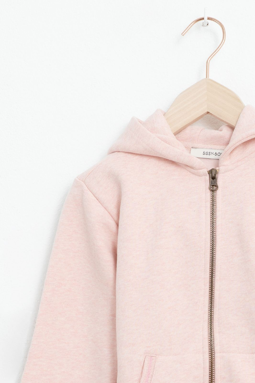 Roze hoodie met rits en lange mouwen
