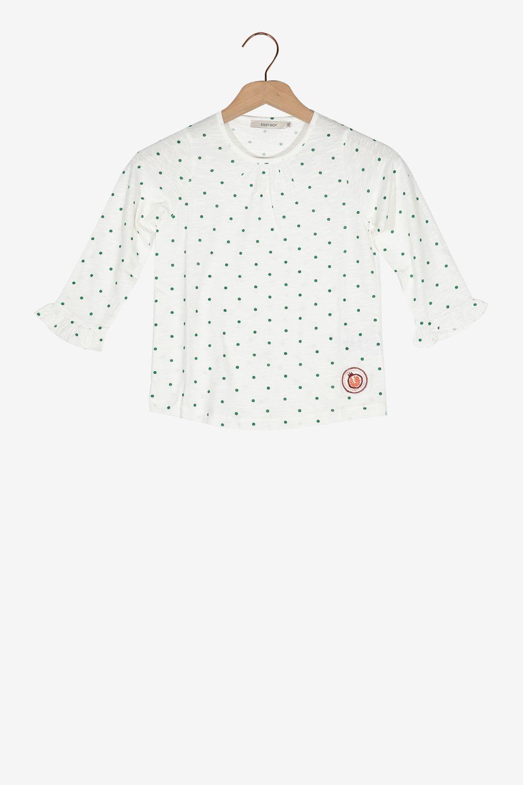 Wit T-shirt met groene stippen - Kids | Sissy-Boy