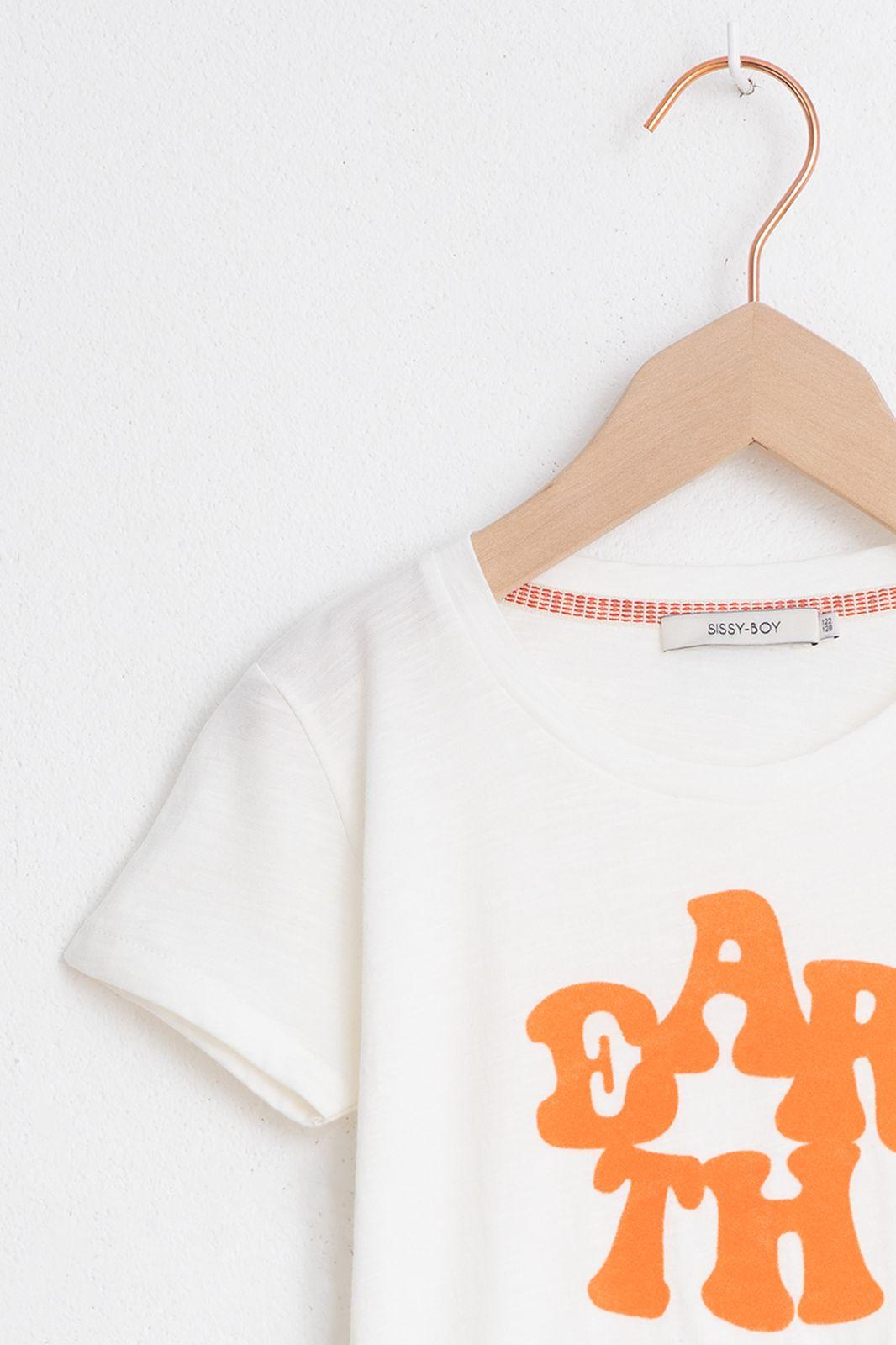 Wit T-shirt met oranje print - Kids | Sissy-Boy
