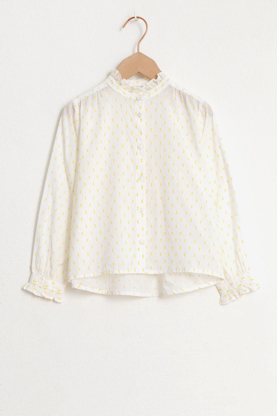 Witte blouse met lange mouw en gele dots - Kids | Sissy-Boy
