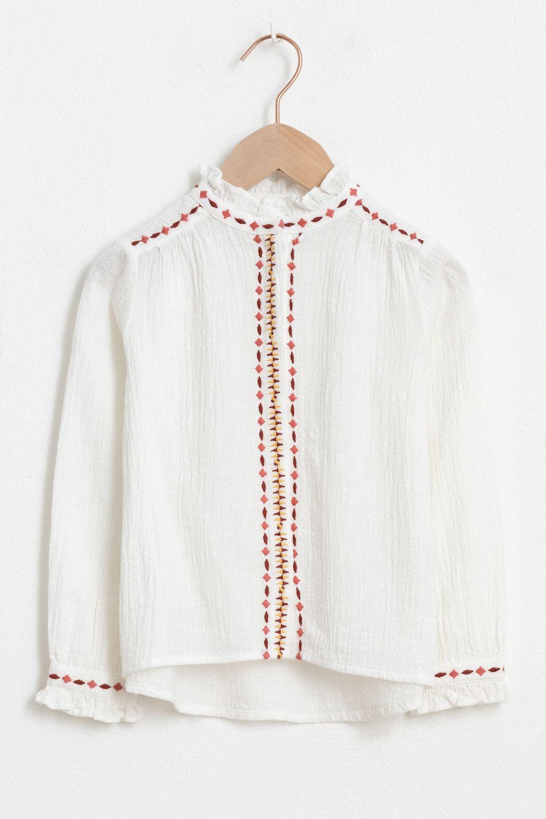Ecru blouse met lange mouw en borduursels