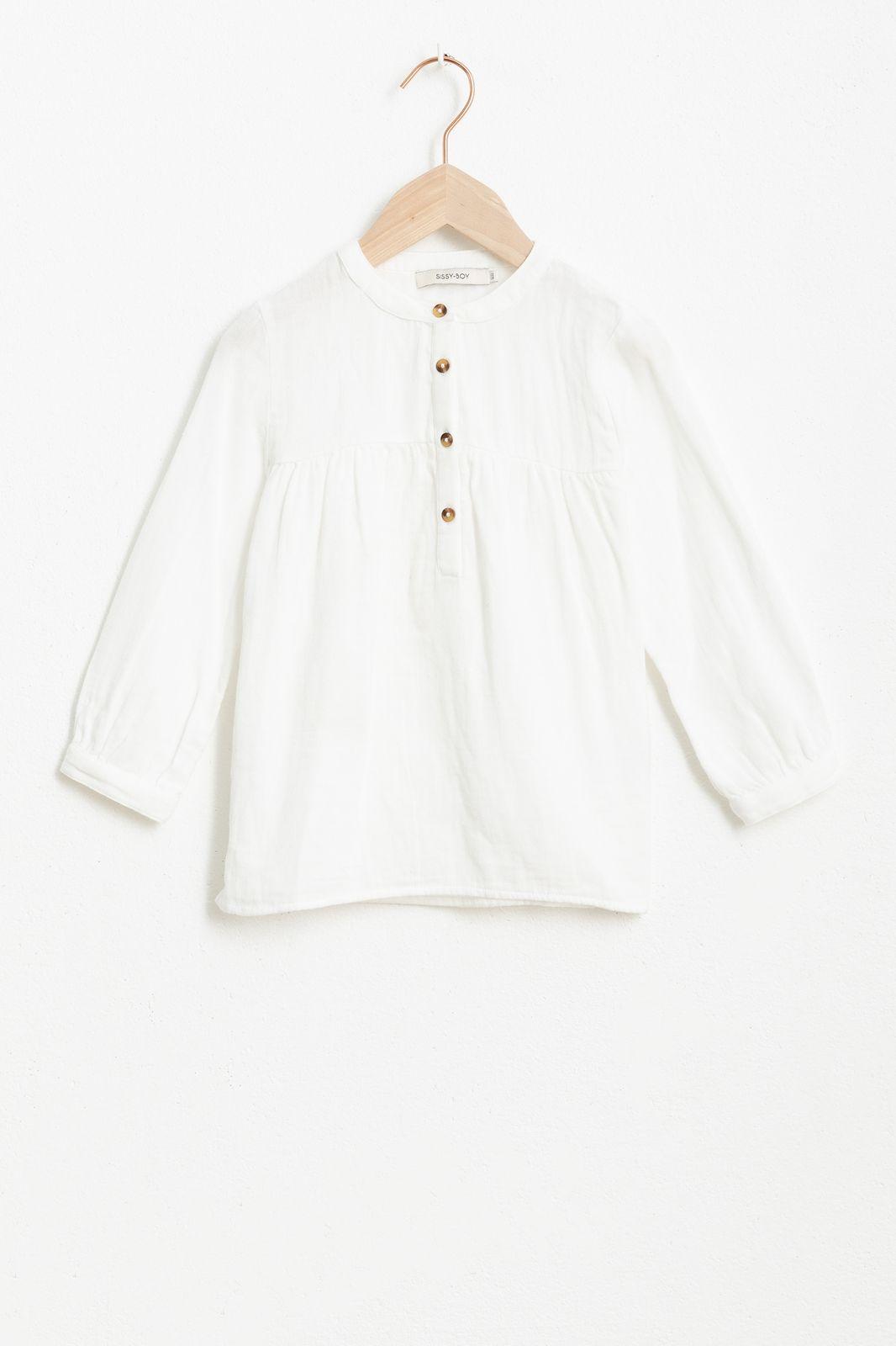 Ecru mousseline blouse met lange mouw - Kids   Sissy-Boy