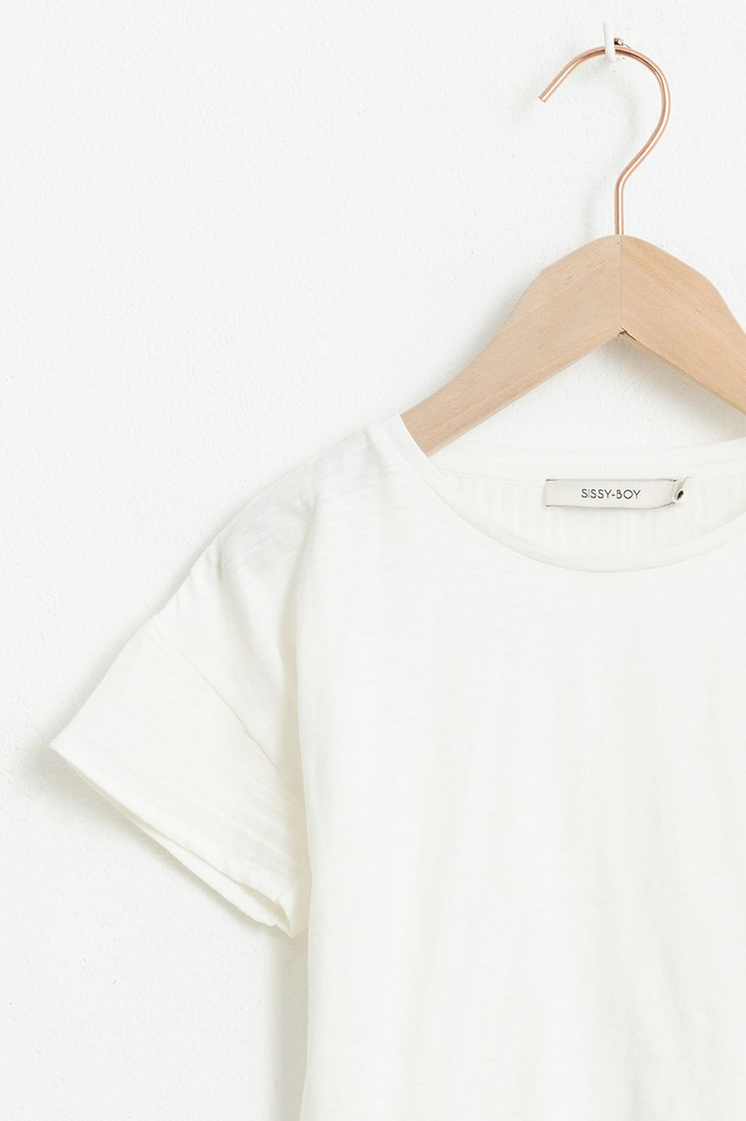 Wit T-shirt met korte ruffle mouwen - Kids | Sissy-Boy