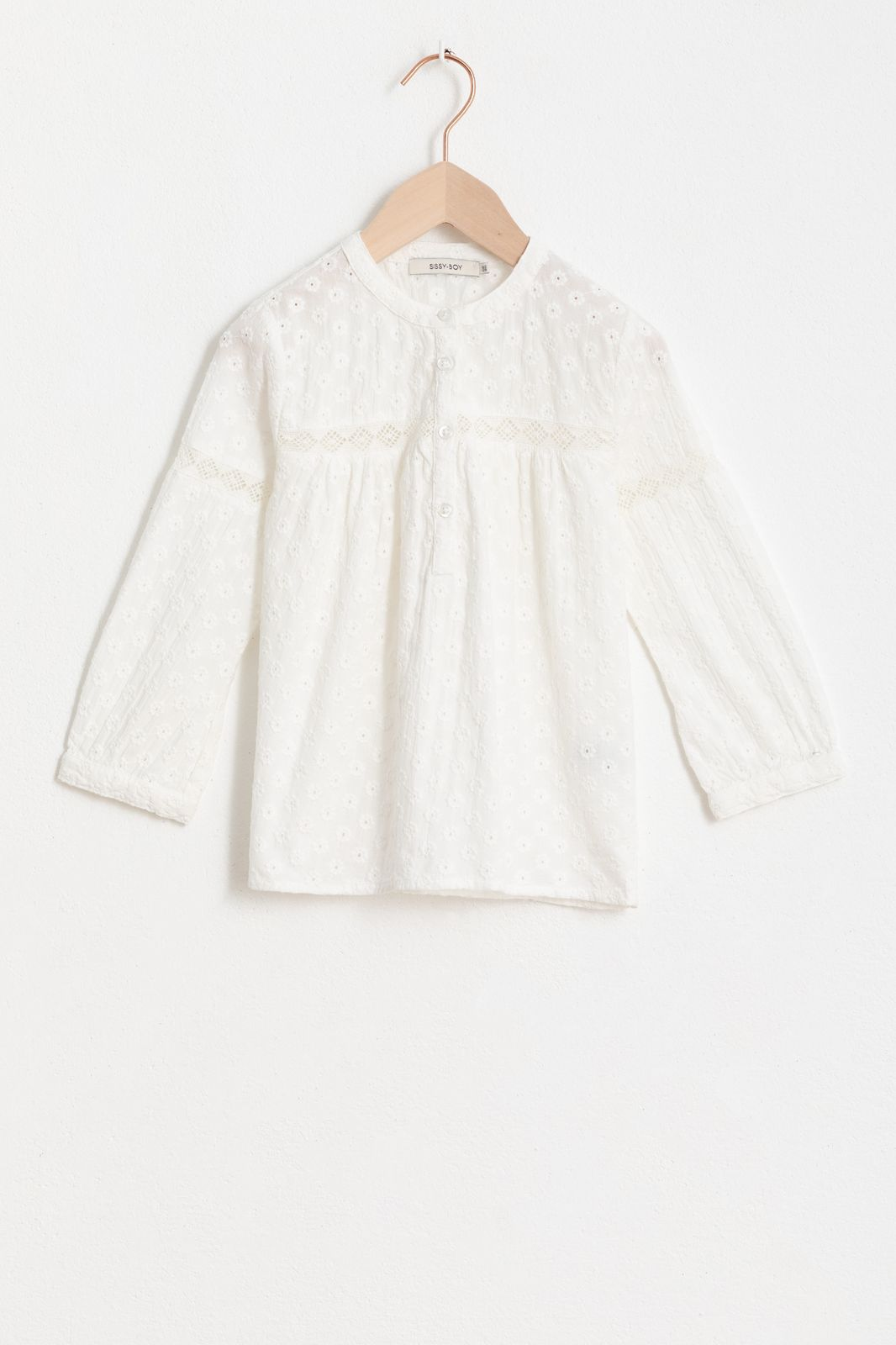 Witte broderie anglaise blouse met lange mouw - Kids | Sissy-Boy