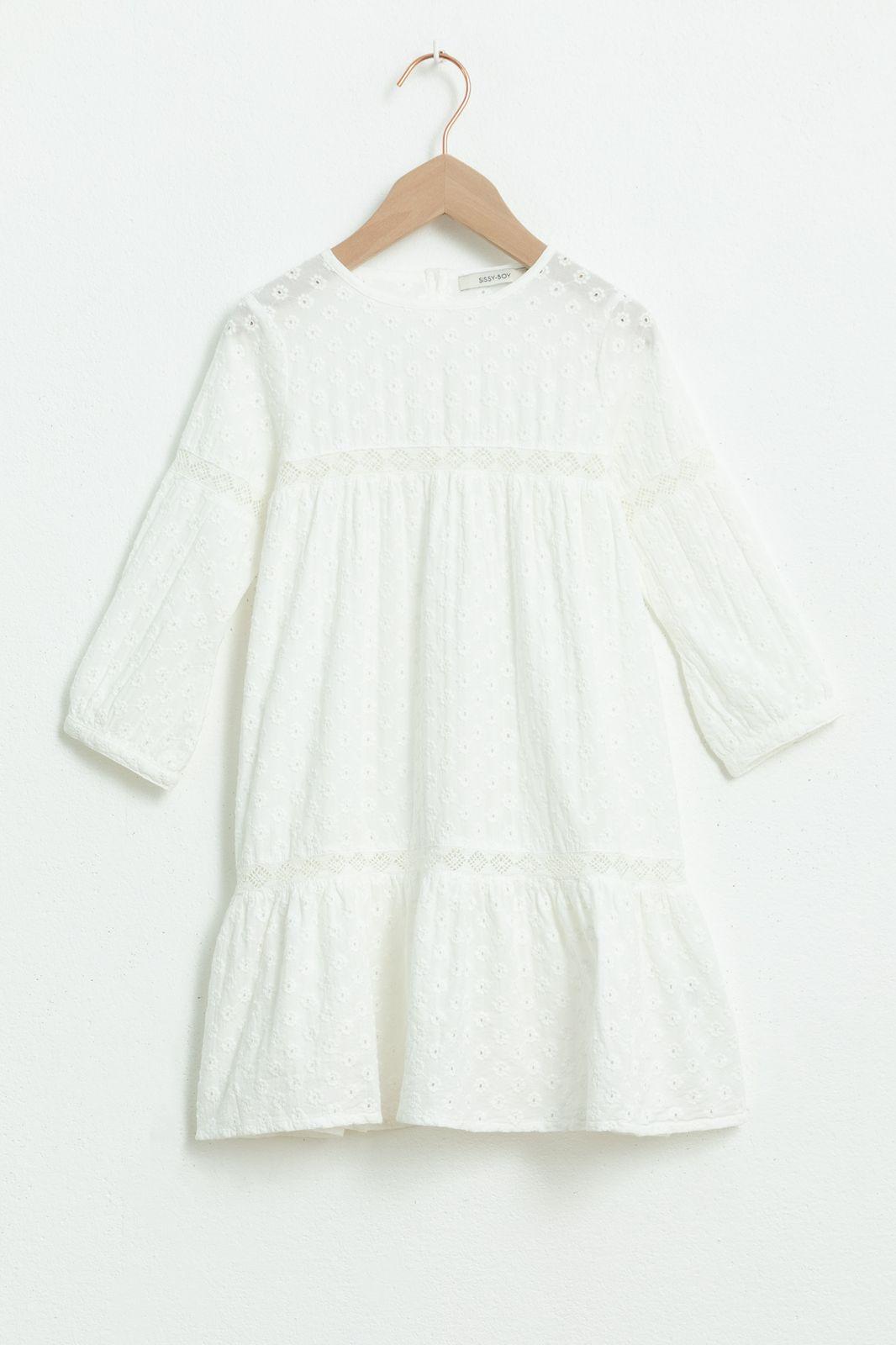 Witte broderie anglaise jurk met lange mouw - Kids | Sissy-Boy