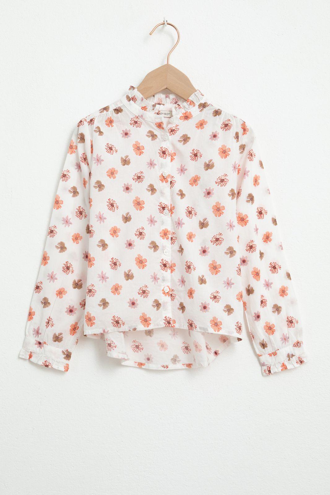Witte blouse met lange mouw en all over print