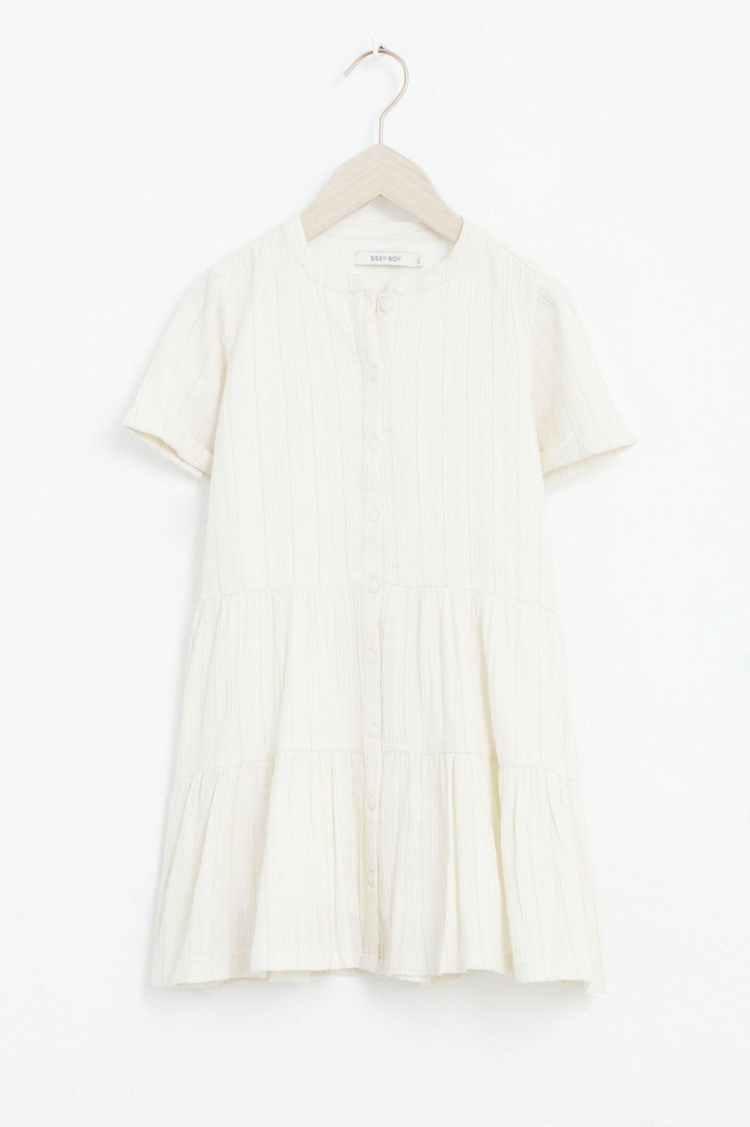 Beige ruffle jurk met lurex en korte mouw - Kids | Sissy-Boy