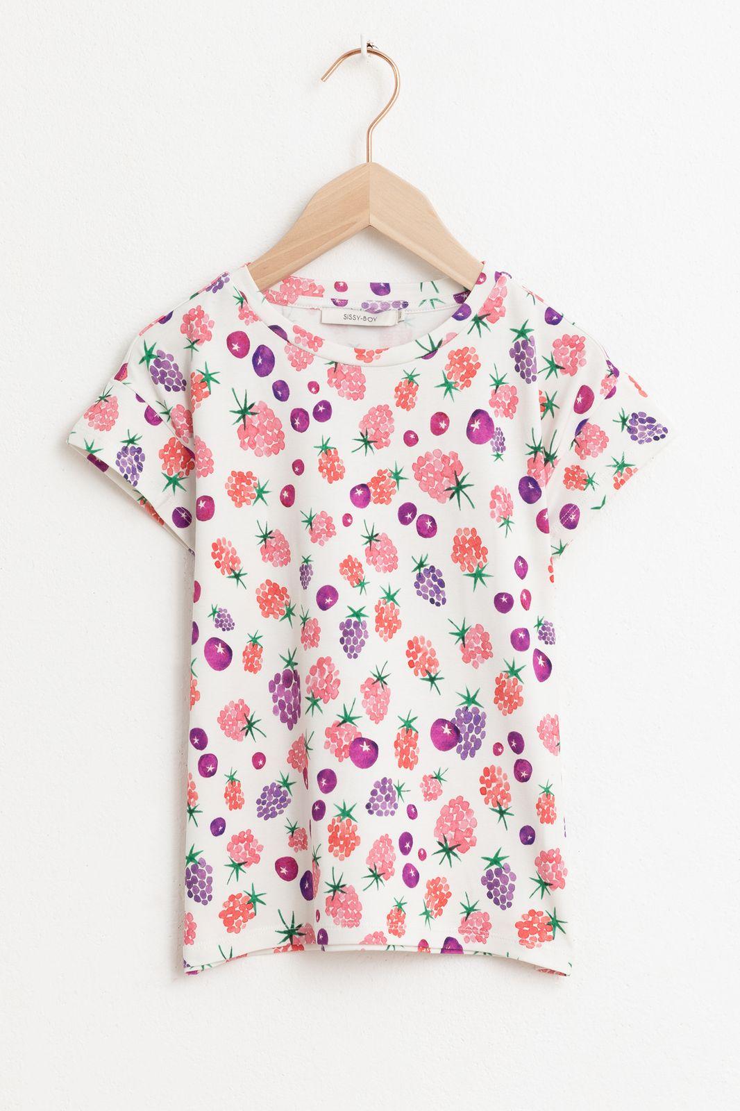 T-shirt met korte mouw en all over fruit print