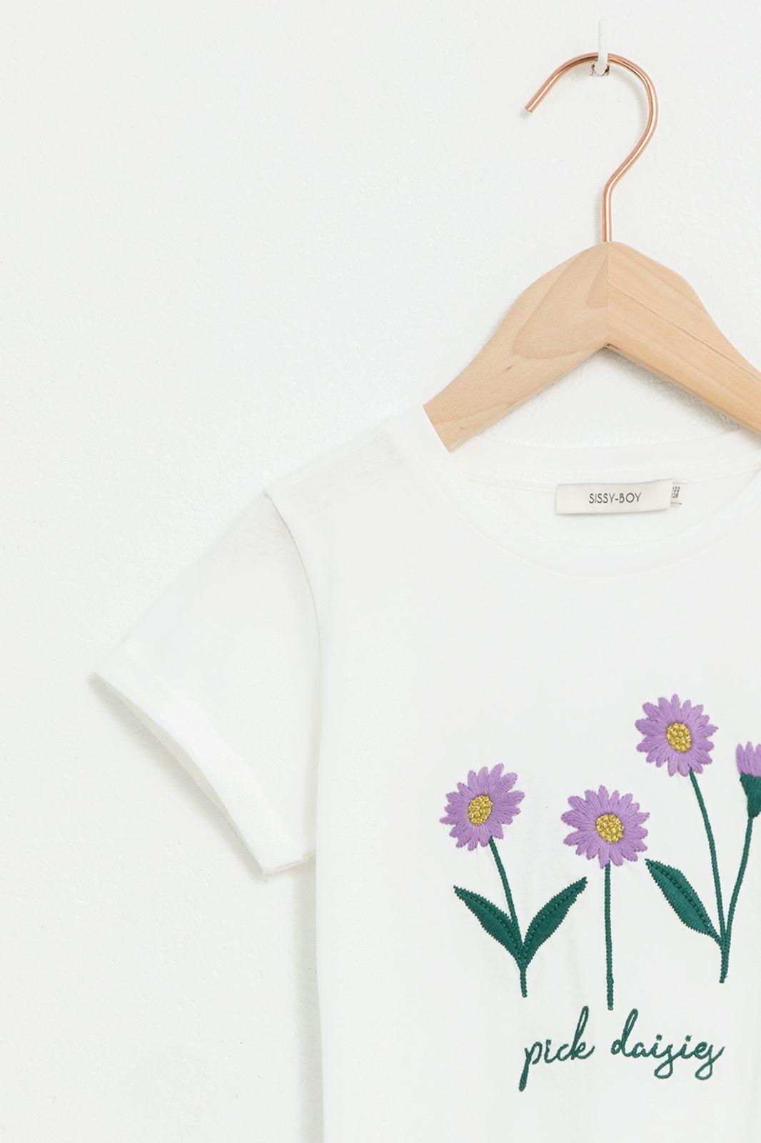 Ecru T-shirt met bloem embroidery en korte mouw - Kids | Sissy-Boy