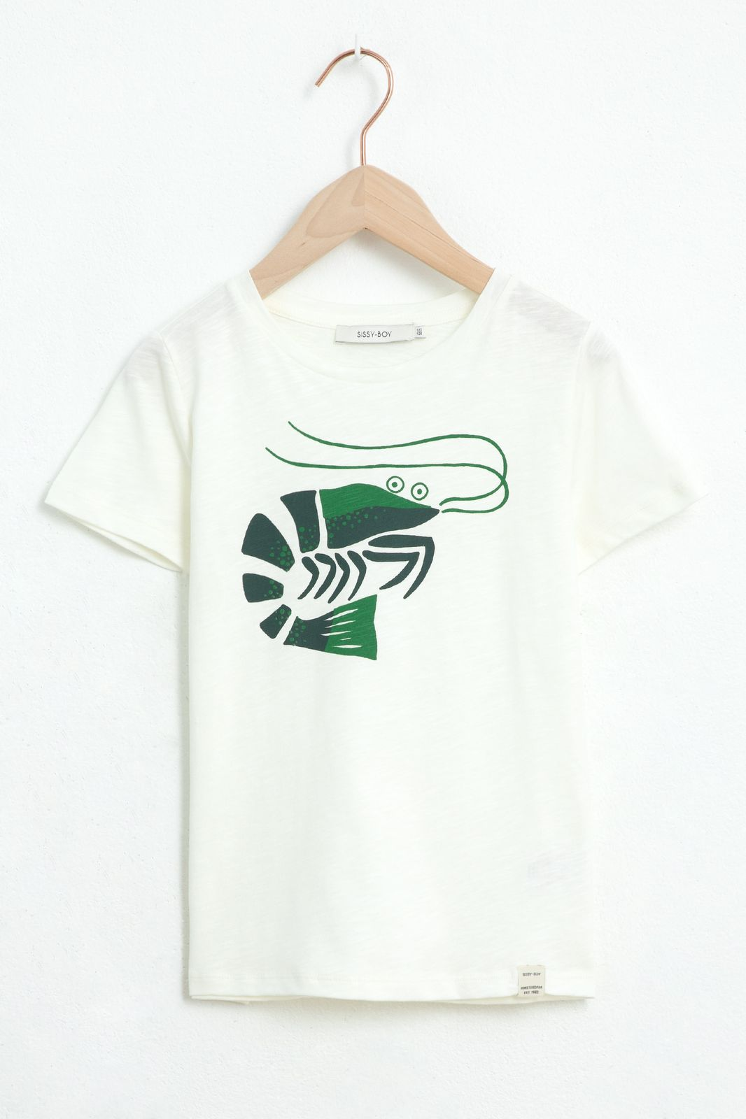 Wit T-shirt met garnaal artwork en korte mouw - Kids | Sissy-Boy