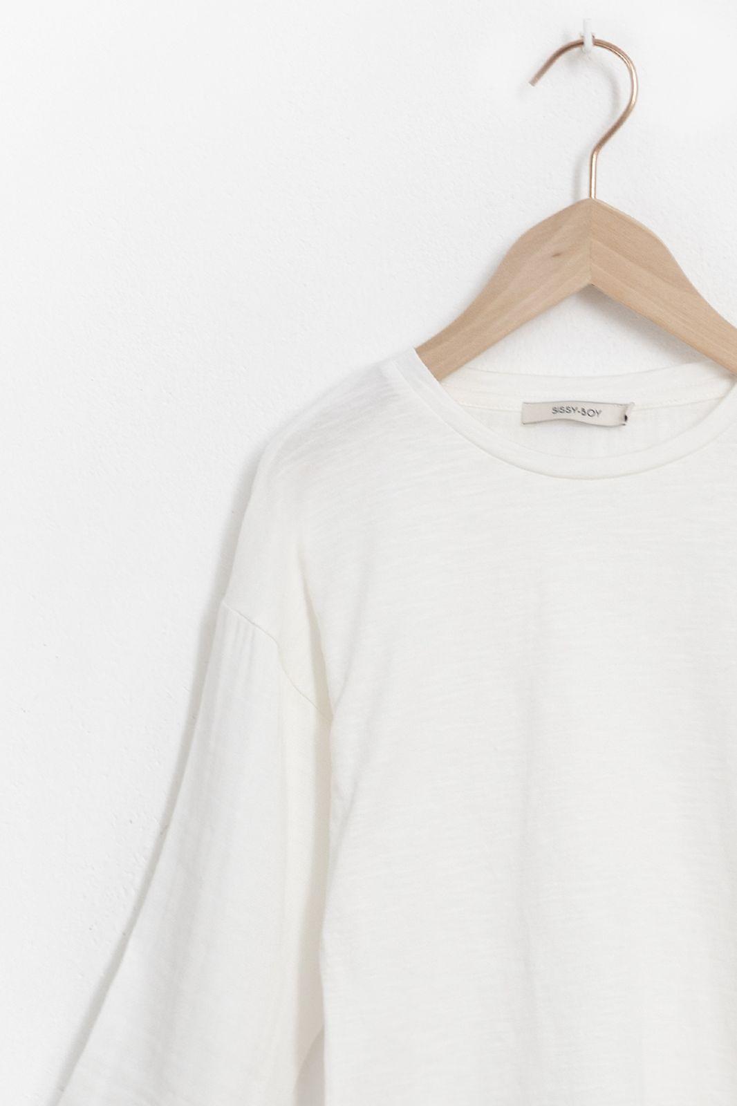 Wit mousseline T-shirt met driekwart mouwen - Kids   Sissy-Boy