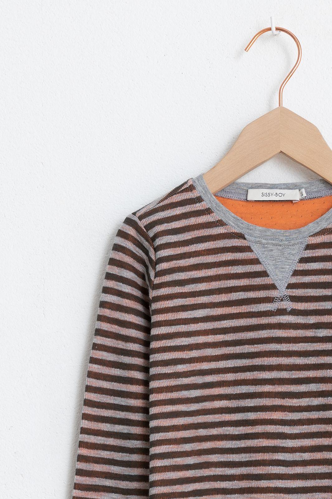Bruin gestreept t-shirt lange mouwen - Kids   Sissy-Boy