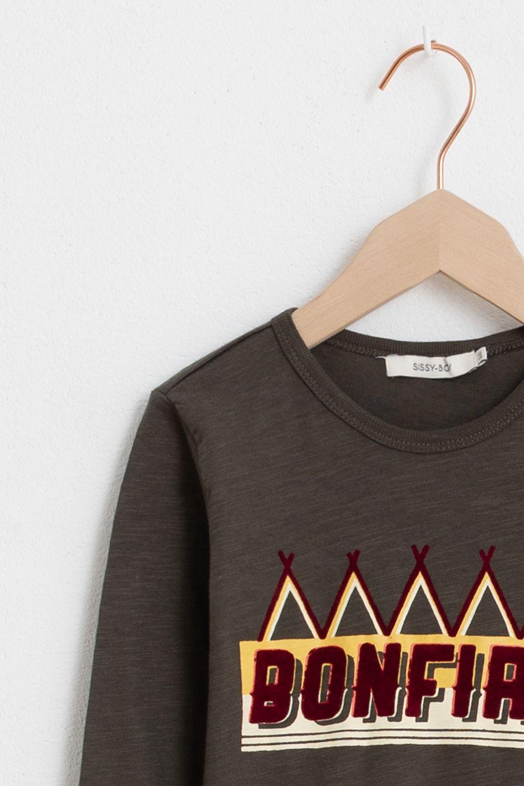 Donkergroen t-shirt met print