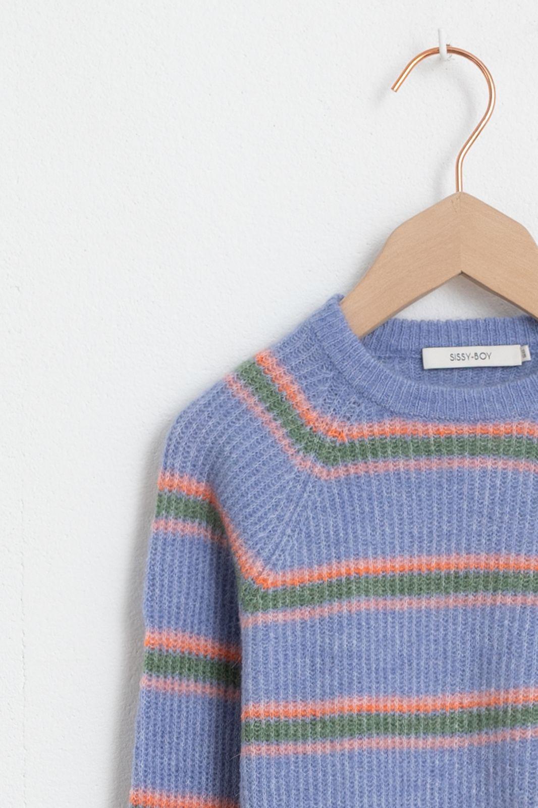 Lila/blauwe trui met strepen