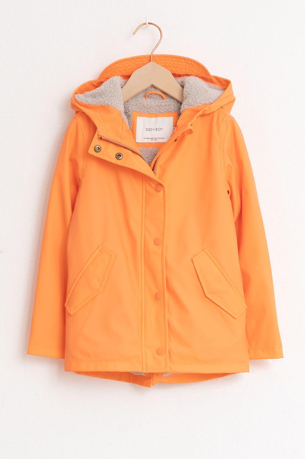 Oranje regenjas met teddy voering