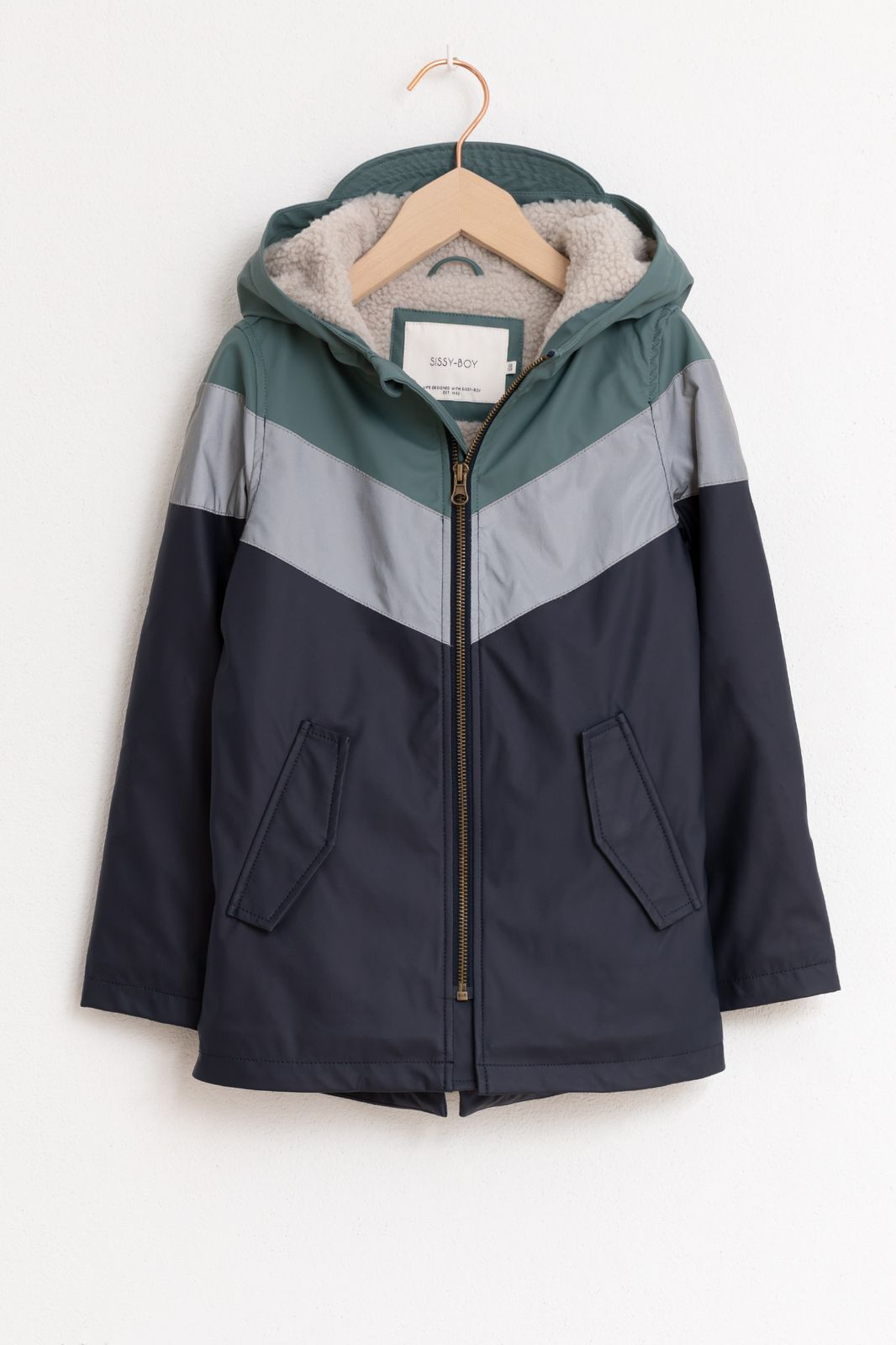 Blauw/groene jas colorblock - Kids | Sissy-Boy