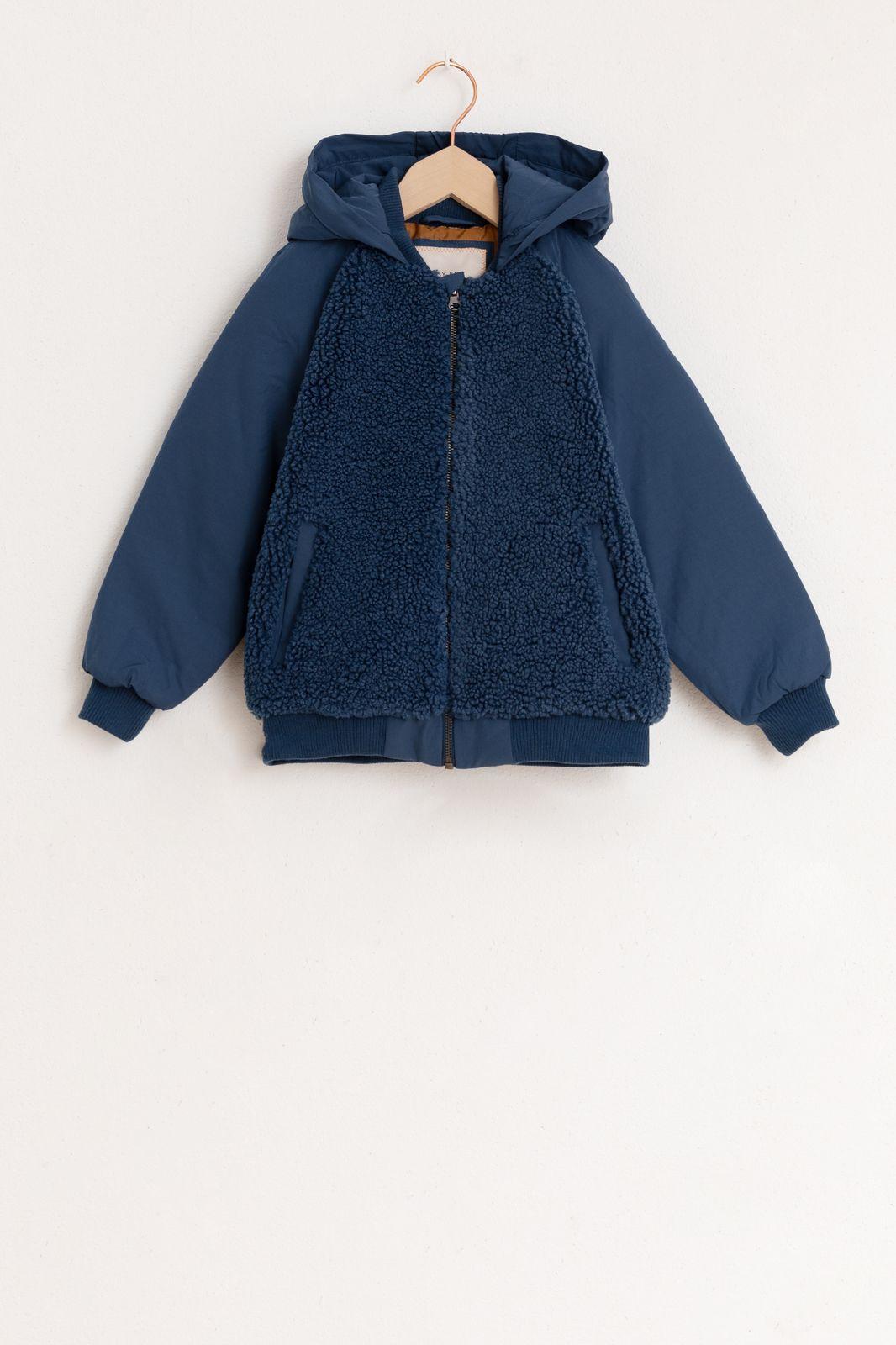 Donkerblauwe teddy jas