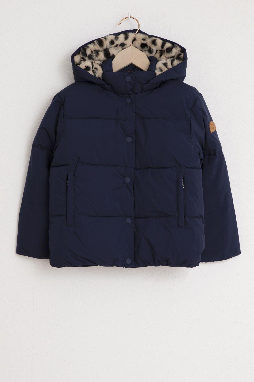 Donkerblauwe jas met luipaard details