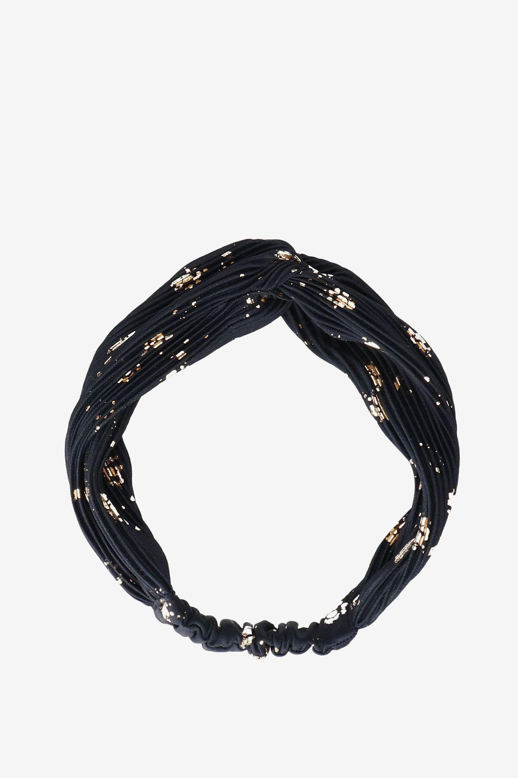 Donkerblauwe haarband plisse velvet