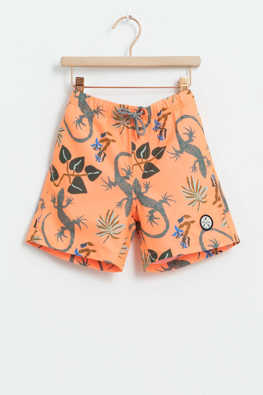 Oranje zwembroek met all over print