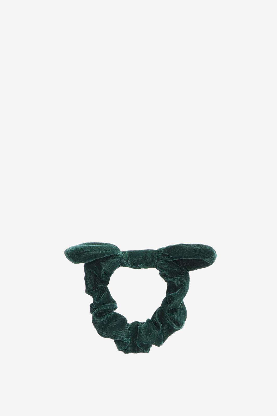 Donkergroene velvet scrunchie