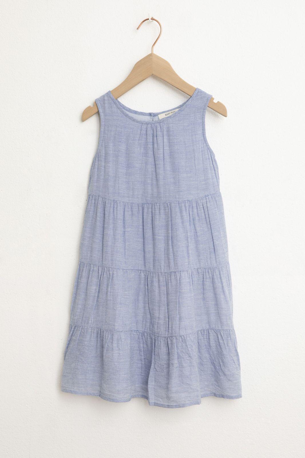 Blauwe jurk met ruffles