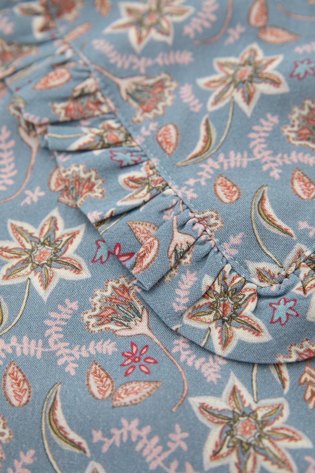 Blauwe blouse met all over paisley print en ruffles - Kids | Sissy-Boy