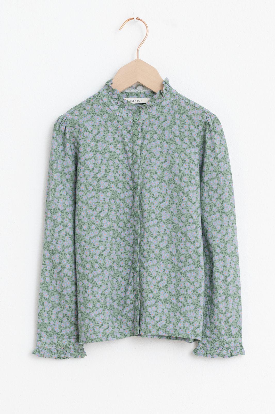 Groene blouse met all over print