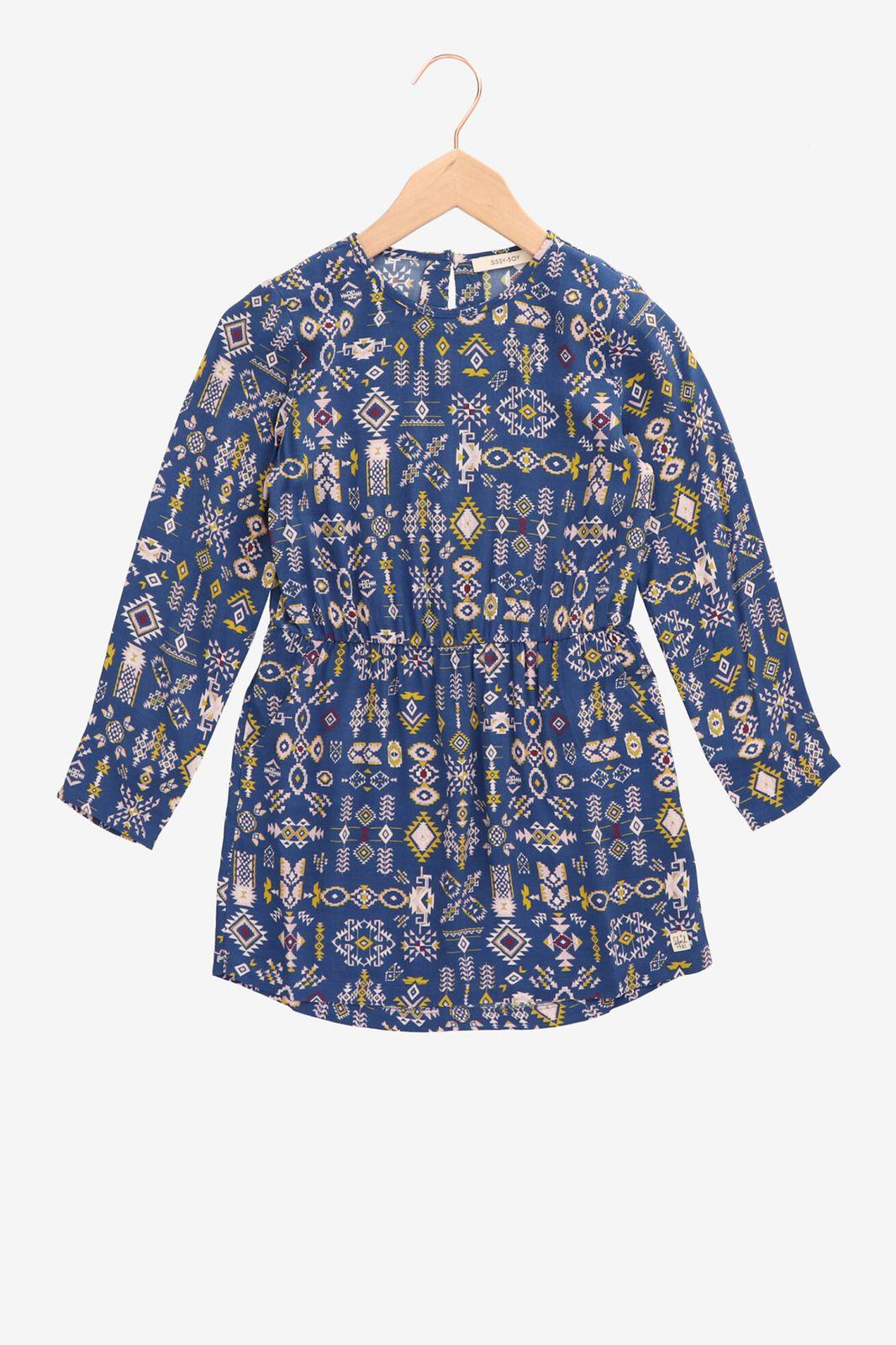 Kobalt blauw jurkje met print - Kids   Sissy-Boy
