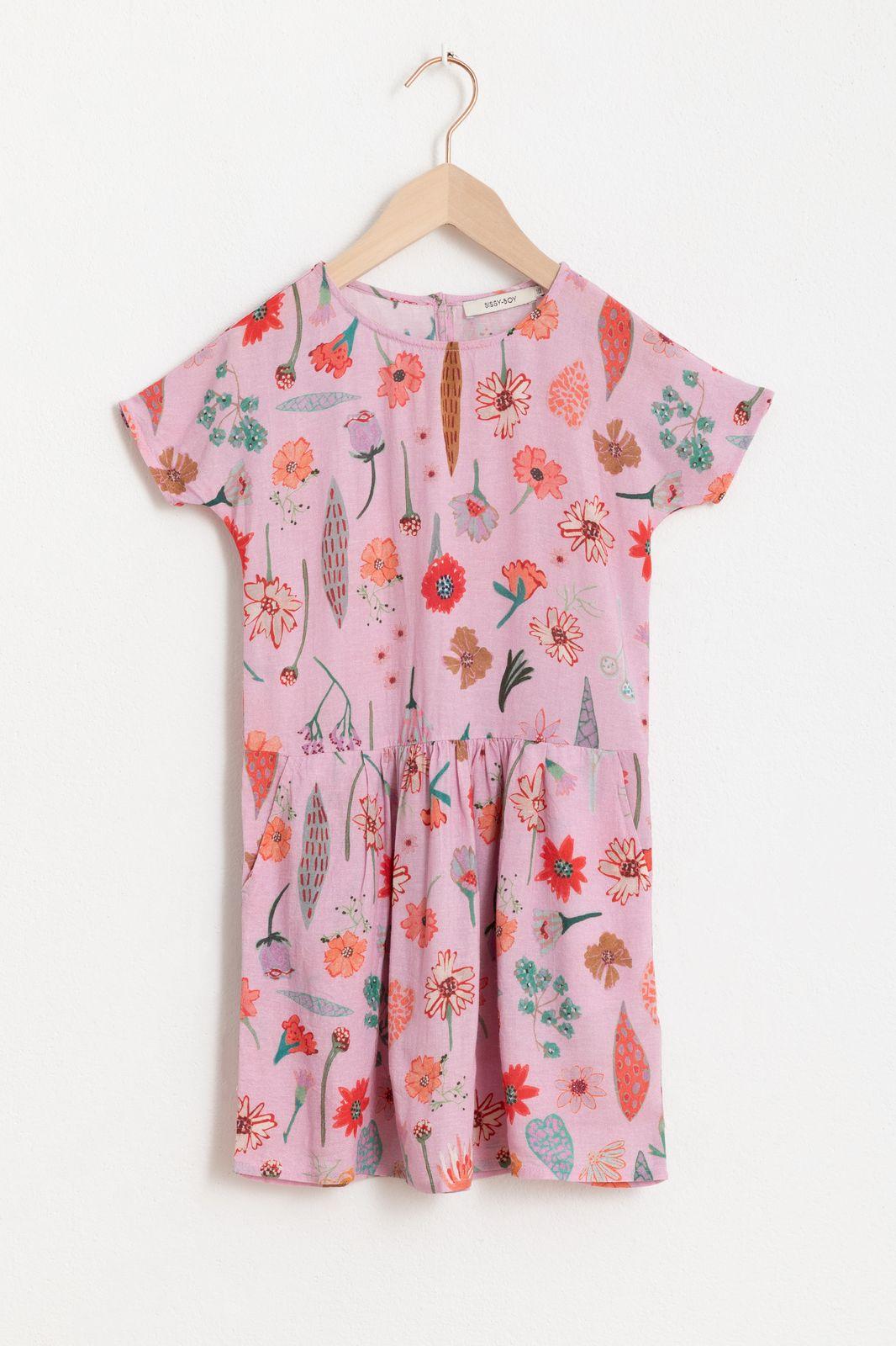 Roze jurk met all over bloemenprint en korte mouw - Kids | Sissy-Boy